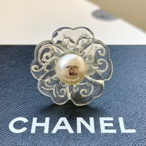 Chanel Clear Resin Floral Faux Pearl Ring